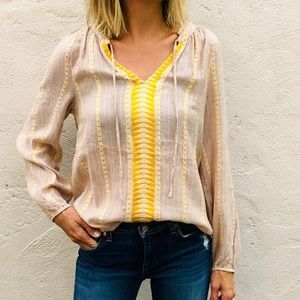 Lucky Brand embroidered boho top yellow small
